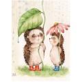 «Ежики и дождь» Инги Измайловой  30*40 см