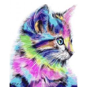 Разноцветная кошка 40*50 см
