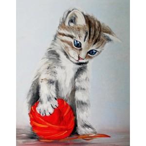 Котенок с красным клубком  40*50 см