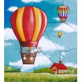 """""""Воздушный шар"""" , картина в стиле пэчворк"""
