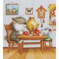 """""""Беседа за чаем"""" , картина в стиле пэчворк"""