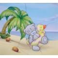 """""""Татти Тедди на пляже"""" , картина в стиле пэчворк"""