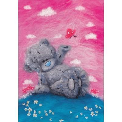 "Картина шерстью ""Татти Тедди с бабочкой"""