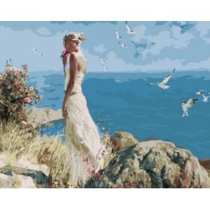 «Девушка на фоне моря» Михаила и Инессы Гармаш  40*50 см.
