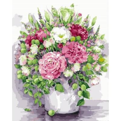 «Яркие пионы с зелеными плодами в белой вазе» Елены Вавилиной 40*50 см.