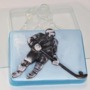 Хоккеист, форма для мыла пластиковая