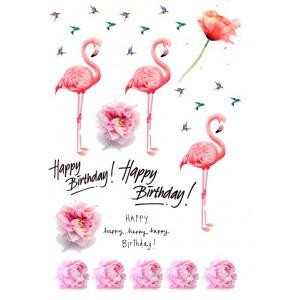 Розовый фламинго, 15*20 см