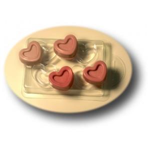 4 Сердечка, форма для мыла пластиковая