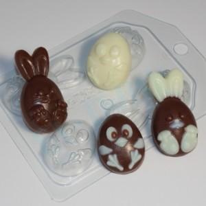 Кролик и цыпленок мультяшные (4 мини), форма для мыла пластиковая