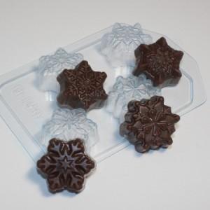 Снежинки мини, форма для мыла пластиковая