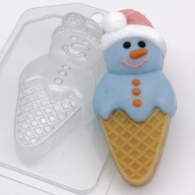Мороженое - Снеговик, форма для мыла пластиковая