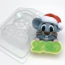2020 - Мышь в новогодней шапке, форма для мыла пластиковая