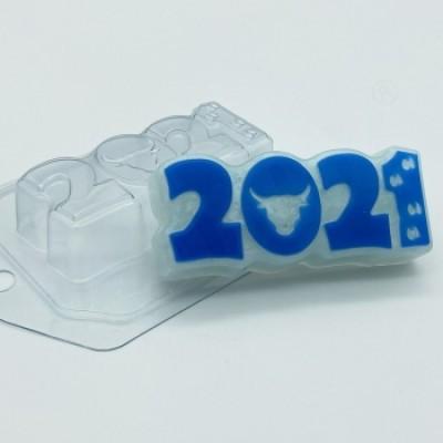 2021 - Бык и следы, форма для мыла пластиковая