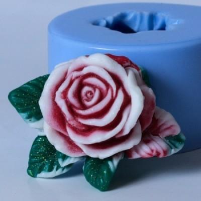 Роза с листочками, форма для мыла силиконовая