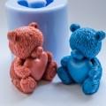 Мишка с сердцем 3D, форма для мыла силиконовая