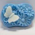 Ромашки и бабочка 2D, форма для мыла силиконовая