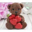 Мишка с сердцами, форма для мыла силиконовая