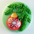 Еловая ветка с шариком 2D, форма для мыла силиконовая