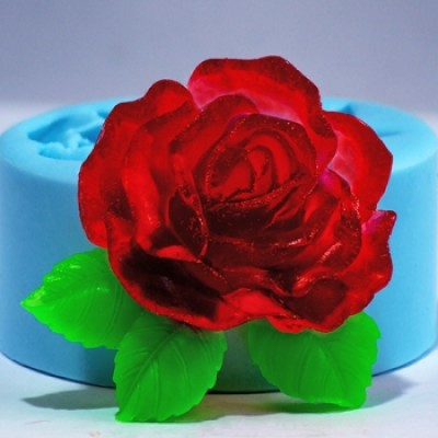 Роза с листочками 2 2D, форма для мыла силиконовая