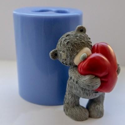 Тедди с сердцем 3D, форма для мыла силиконовая