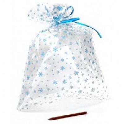Пакет полупрозрачный,  Голубые снежинки,  40х23см, комплект из 3 шт.