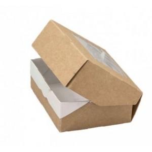 Коробочка, с прозрачным окошком из плёнки, крафт, 10*8*3,5 см